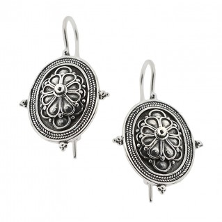 Sterling Silver Rosette Drop Earrings with Hooks ~ Savati 332
