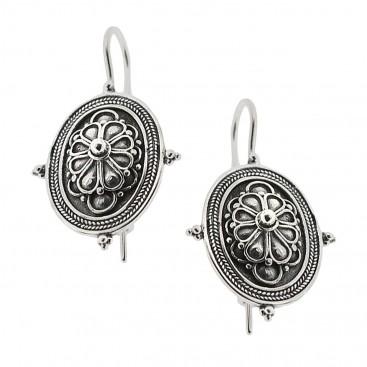 Sterling Silver Rosette Drop Earrings with Hooks ~ Savati 332