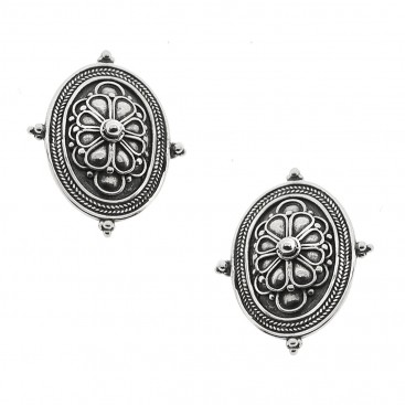 Sterling Silver Rosette Drop Earrings with Clips~ Savati 332
