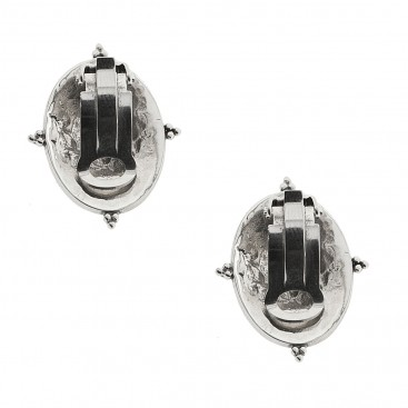 Sterling Silver Rosette Drop Earrings with Clips ~ Savati 332