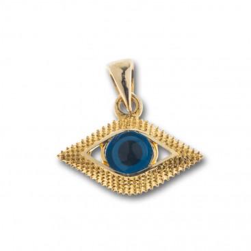 Evil Eye Amulet ~ 14K Solid Gold Charm Pendant - C