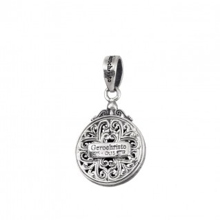 Gerochristo 1722N ~ Sterling Silver Medieval Byzantine Filigree Round Charm Pendant