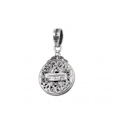 Gerochristo 1722N ~ Sterling Silver Medieval Byzantine Filigree Round Charm Pendant