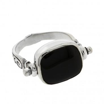 Sterling Silver Flip Single Stone Swivel Engraved Ring ~ Savati 333