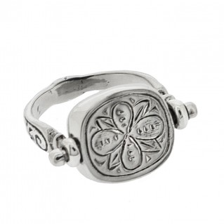 Sterling Silver Flip Single Stone Swivel Engraved Ring ~ Savati 333