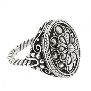 Sterling Silver Rosette Large Ring ~ Savati 334