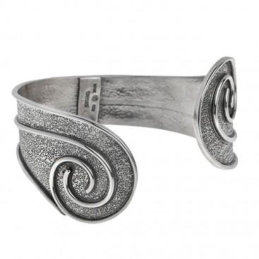 Sterling Silver Large Cuff Bracelet with Spiral Motifs ~ Savati 335