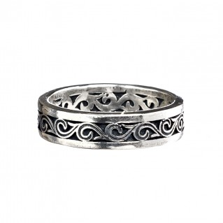 Gerochristo 2719N ~ Sterling Silver Wave Scroll Unisex Band Ring