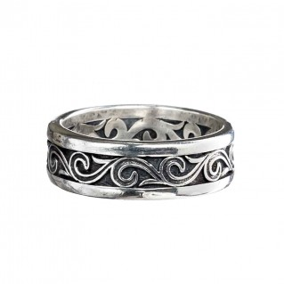 Gerochristo 2720N ~ Sterling Silver Wave Scroll Unisex Band Ring - Wide