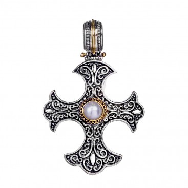 Gerochristo 5423N ~ Solid Gold & Silver Medieval-Gothic Cross Pendant with Pearl