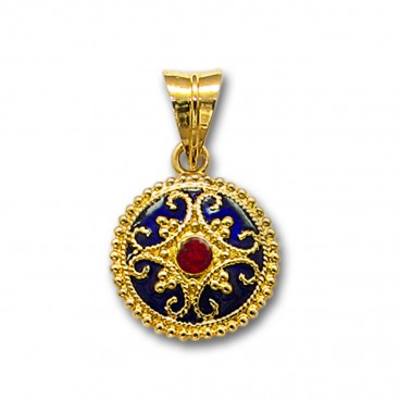 18K Solid Gold and Blue Enamel Ornate Round Charm Pendant with Ruby - A