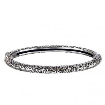 Gerochristo 6450N ~ Sterling Silver Ornate Hinged Bangle Bracelet