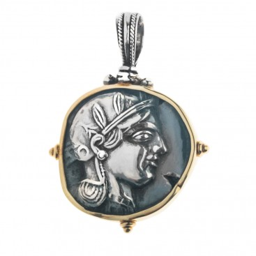 Athena & Owl Tetradrachm ~ 18K Solid Gold and Sterling Silver Coin Pendant ~ Savati 337