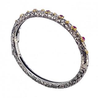 Gerochristo 6451N ~ 18K Solid Gold & Silver Ornate Floral Bangle Bracelet