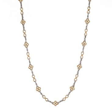 Gerochristo P4107N ~ Stering Silver Floral Chain Necklace with Gold Accents