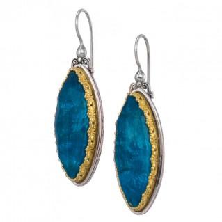 Gerochristo P1759N ~ Sterling Silver Medieval Byzantine Navette Long Drop Earrings