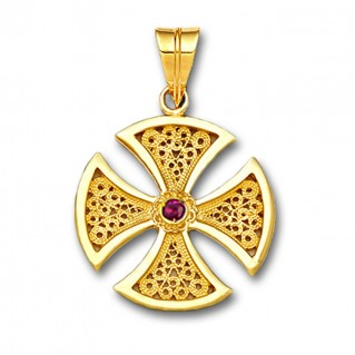 18K Solid Gold Maltese Canterbury Filigree Single Stone Cross Pendant A/Medium