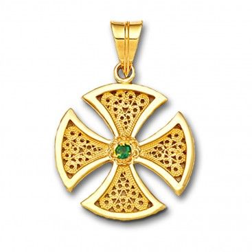 18K Solid Gold Maltese Canterbury Filigree Single Stone Cross Pendant A/Medium