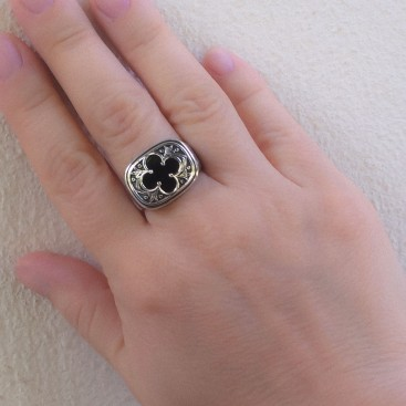 Gerochristo 2973N ~ Sterling Silver Byzantine-Medieval Men's Inlaid Band Ring