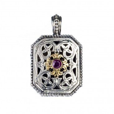 Gerochristo 1398 ~ Solid Gold, Sterling Silver & Ruby Pendant