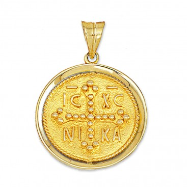 14K Solid Gold Conqueror's Cross Constantinato Round Pendant with Bezel - Large