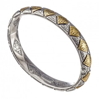 Gerochristo 6463N ~ Solid Gold & Silver Medieval Byzantine Bangle Bracelet