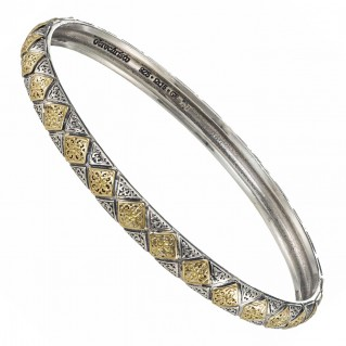 Gerochristo 6502N ~ Solid Gold & Silver Medieval Byzantine Bangle Bracelet