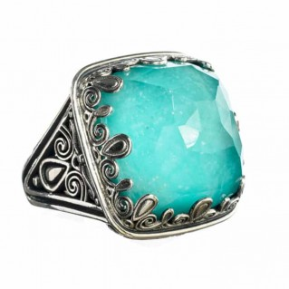 Gerochristo 2881N ~ Large Single Stone Square Sterling Silver Cocktail Ring