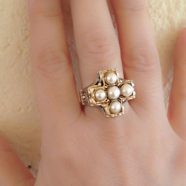 Gerochristo 2239N ~ 18K Gold & Silver Byzantine Cross Ring with Pearls