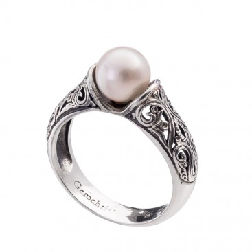 Gerochristo 2722N ~ Sterling Silver Byzantine-Medieval Solitaire Pearl Ring