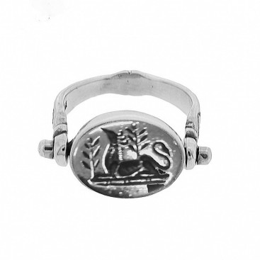 Sterling Silver Flip Swivel Griffin Engraved Signet Ring ~ Savati 342
