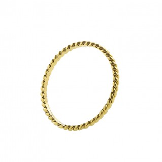 Thin 18K Solid Gold Stackable Twist Band Ring ~ Savati 343