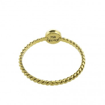 18K Solid Gold Stackable Round Single Stone Ring ~ Savati 344