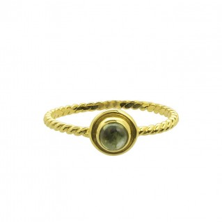 18K Solid Gold Stackable Round Single Stone Ring ~ Savati 345