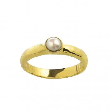 18K Solid Gold Stackable Single Stone Pearl Ring ~ Savati 346