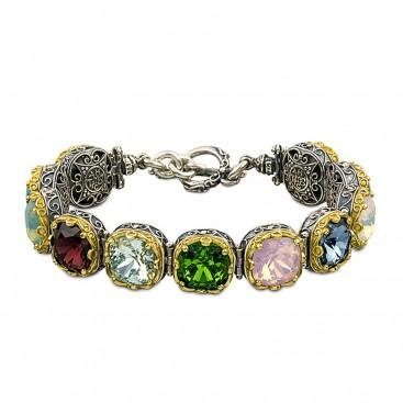Silver and Multicolor Swarovski Crystals Link Bracelet ~ Dimitrios Exclusive B290