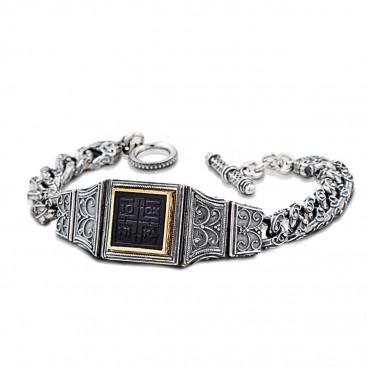 Conqueror's Cross Silver and Bronze Men's Bracelet ~ Dimitrios Exclusive B382