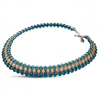 Silver and Blue Swarovski Crystals - Majestic Choker Necklace ~ Dimitrios Exclusive K212