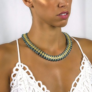 Silver and Blue Swarovski Crystals - Majestic Choker Necklace ~ Dimitrios Exclusive K212