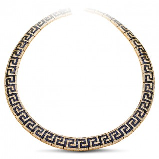 Pave Zircon Greca Choker Necklace with Gold Accents ~ Dimitrios Exclusive K293
