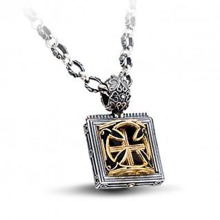 Silver and Black Enamel Cross Pendant Necklace ~ Dimitrios Exclusive M279