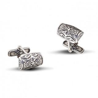 Silver Rectangular Engraved Cufflinks ~ Dimitrios Exclusive MA6