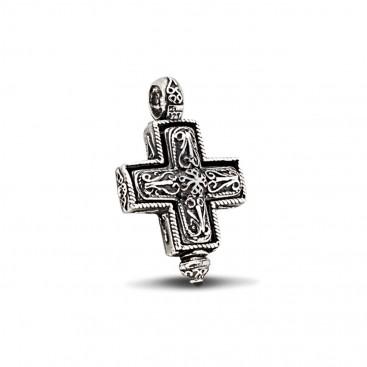 Reliquary Locket Greek Cross Silver Pendant ~ Dimitrios Exclusive ST197