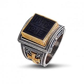 Silver and Bronze Medieval Conqueror's Cross Chevalier Ring ~ Dimitrios Exclusive D322
