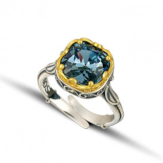 Silver and Swarovski Crystal Small Adjustable Cocktail Ring ~ Dimitrios Exclusive D216