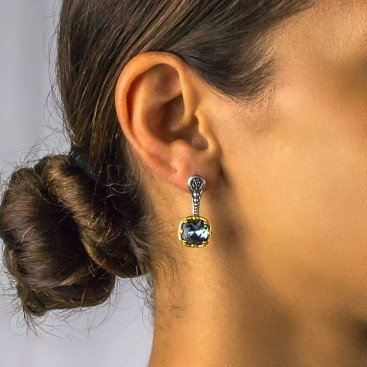 Silver and Square Swarovski Crystal Drop Earrings ~ Dimitrios Exclusive S170