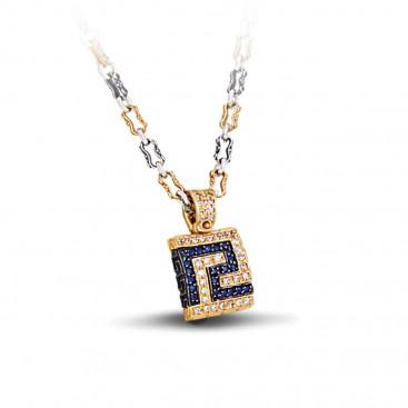 Pave Zircon Greca Pendant Necklace with Gold Accents ~ Dimitrios Exclusive M287