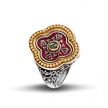 Silver, Enamel and Swarovski Clover Ring ~ Dimitrios Exclusive D287