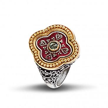 Silver, Enamel and Swarovski Clover Ring ~ Dimitrios Exclusive D287