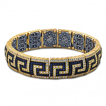 Pave Zircon Greca Bangle Bracelet with Gold Accents ~ Dimitrios Exclusive B383